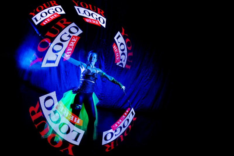 Youtube logo and picture - Visual Pixel Poi spinning - Anta Agni UV light and Fire Show dancers