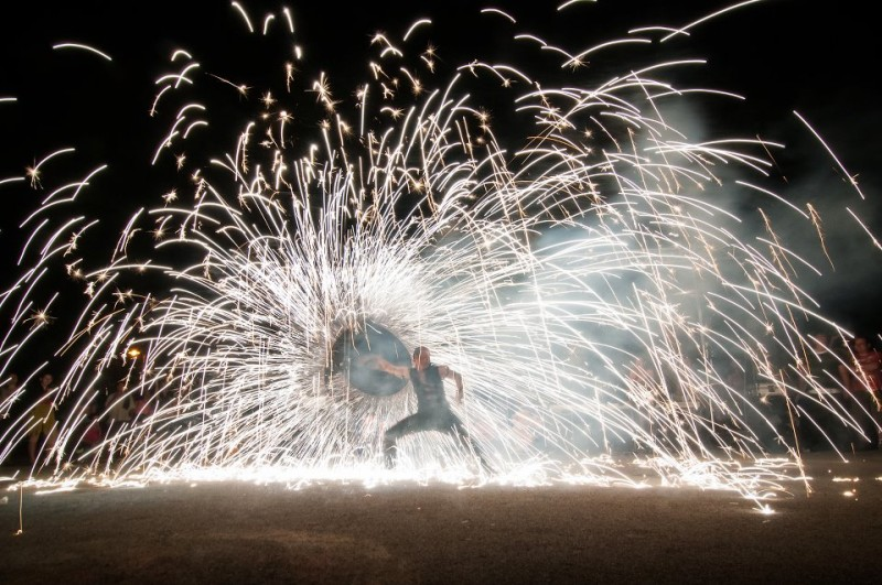 Firedancer with Big Pyro Effect - Anta Agni Fire Show