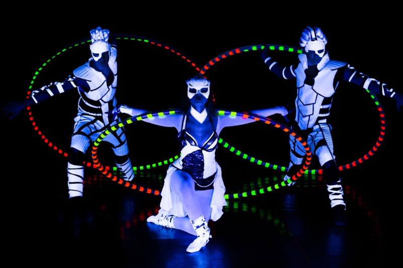 Visual Pixel Poi - NASA logo - Black Light Dancers - UV Glow Show
