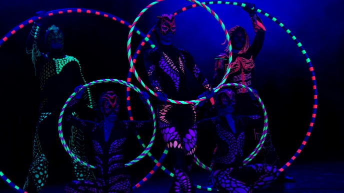 Cyr Wheel, Hula Hoop, Circles in UV Light - Anta Agni Black Light Show