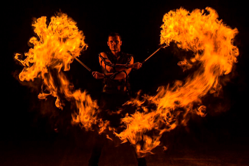 flame heart - anta agni fireshow dancer with lycopodium torches
