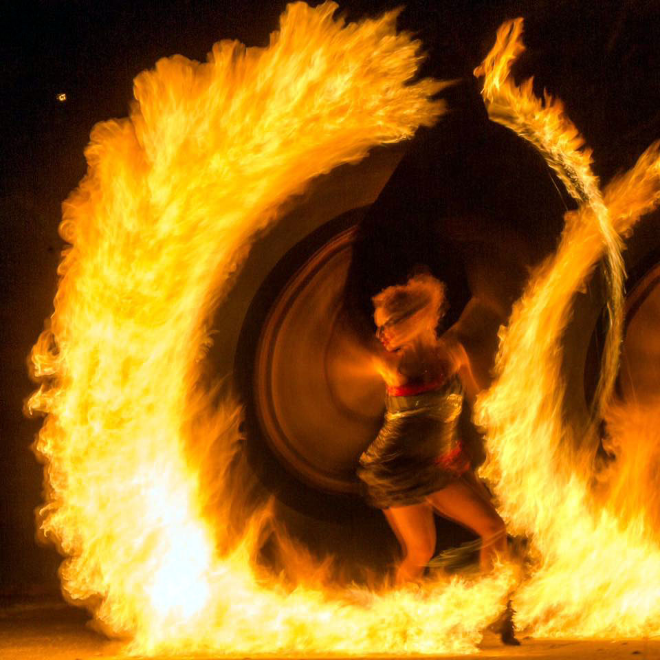 Anta Agni Girl in Flames during  Fire Show Lycopodium Effect